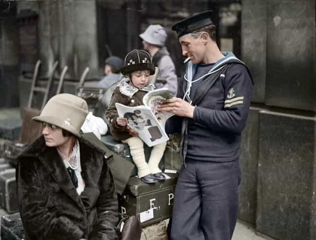 Sailor Reading to His Buddy in... is listed (or ranked) 6 on the list The Most Amazing Colorized Black and White Photos