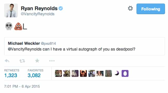 Deadpool Is Already Signing Au... is listed (or ranked) 3 on the list The Best Deadpool Tweets from Ryan Reynolds, Ranked