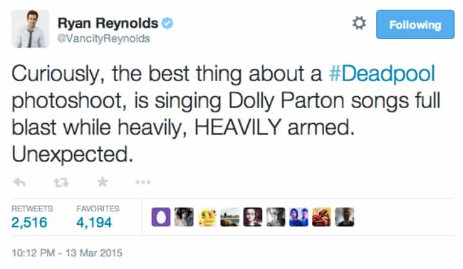 Deadpool Is a Dolly Parton Fan is listed (or ranked) 4 on the list The Best Deadpool Tweets from Ryan Reynolds, Ranked