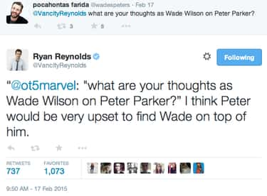 Deadpool and the Larger Marvel is listed (or ranked) 1 on the list The Best Deadpool Tweets from Ryan Reynolds, Ranked