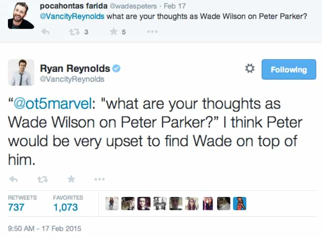 Deadpool and the Larger Marvel... is listed (or ranked) 4 on the list The Best Deadpool Tweets from Ryan Reynolds, Ranked