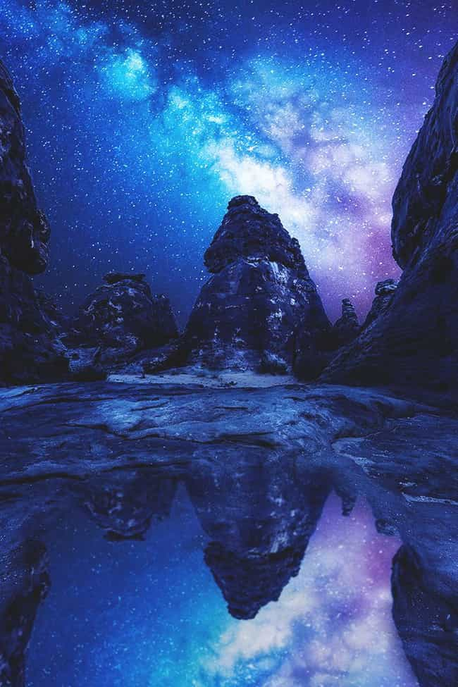 Milky Way Reflected in a... is listed (or ranked) 3 on the list 40 Photos of Fantasy Landscapes That Really Exist