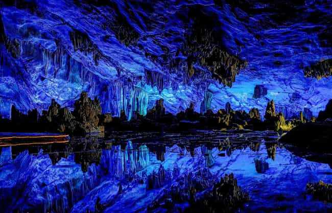 Reed Flute Cave in China is listed (or ranked) 2 on the list 40 Photos of Fantasy Landscapes That Really Exist