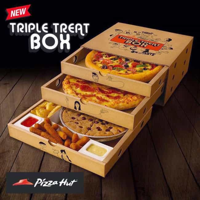 Pizza Hut Triple Treat Box is listed (or ranked) 2 on the list The Craziest Food Abominations Of All Time