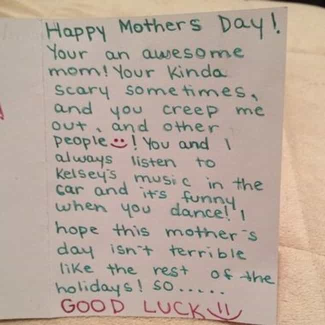 """The """"Ur Kinda a Creeper... is listed (or ranked) 4 on the list The Best Accidentally Funny Mother's Day Cards"""
