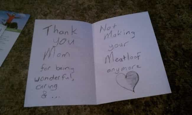 """The """"Thanks for Spa... is listed (or ranked) 2 on the list The Best Accidentally Funny Mother's Day Cards"""