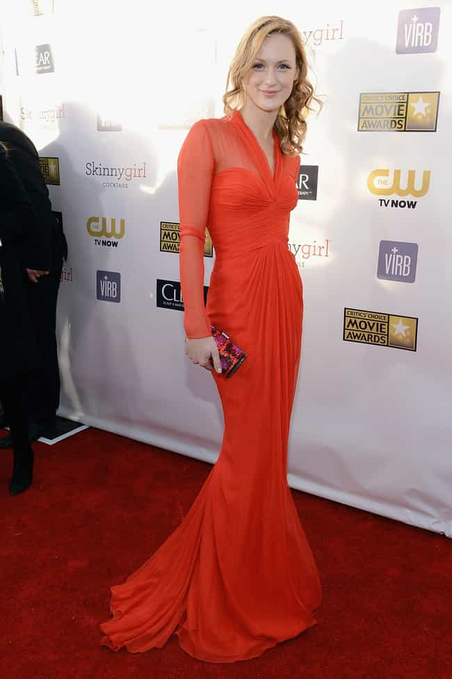 Kerry Bishe in Red Sheer Gown is listed (or ranked) 2 on the list The Most Stunning Kerry Bishe Photos