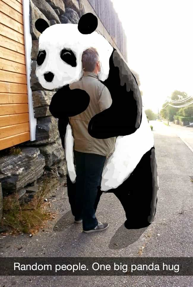 The Random Panda Hug Sna... is listed (or ranked) 1 on the list Funny Snapchat Drawings That Put Your Art Skills to Shame