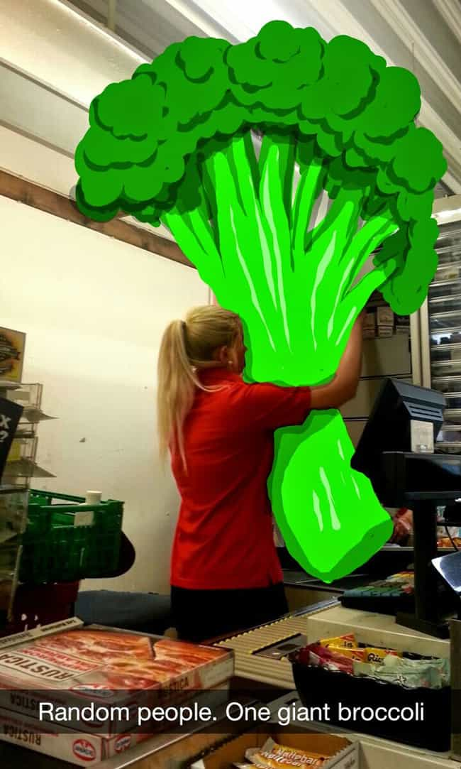 The Bigass Broccoli Snap... is listed (or ranked) 3 on the list Funny Snapchat Drawings That Put Your Art Skills to Shame