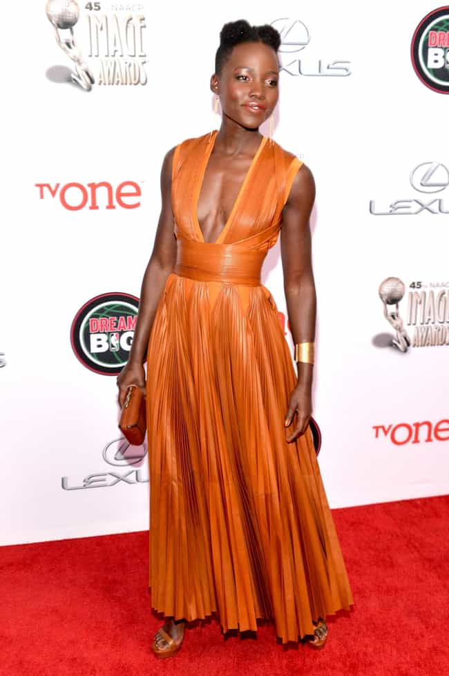 Adds Some Orange Zest to the R... is listed (or ranked) 4 on the list Lupita Nyong'o's Best Looks in Every Color of the Rainbow