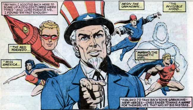 Uncle Sam is listed (or ranked) 2 on the list The Most Patriotic Characters In Comics