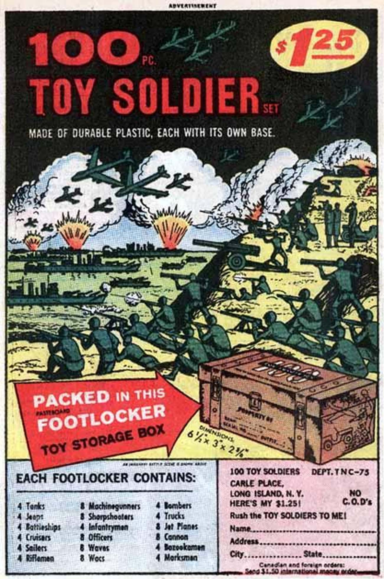 100 Pc Toy Soldiers is listed (or ranked) 2 on the list The Best Vintage Ads in Comic Books
