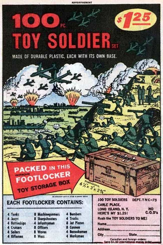 100 Pc Toy Soldiers is listed (or ranked) 1 on the list The Best Vintage Ads in Comic Books