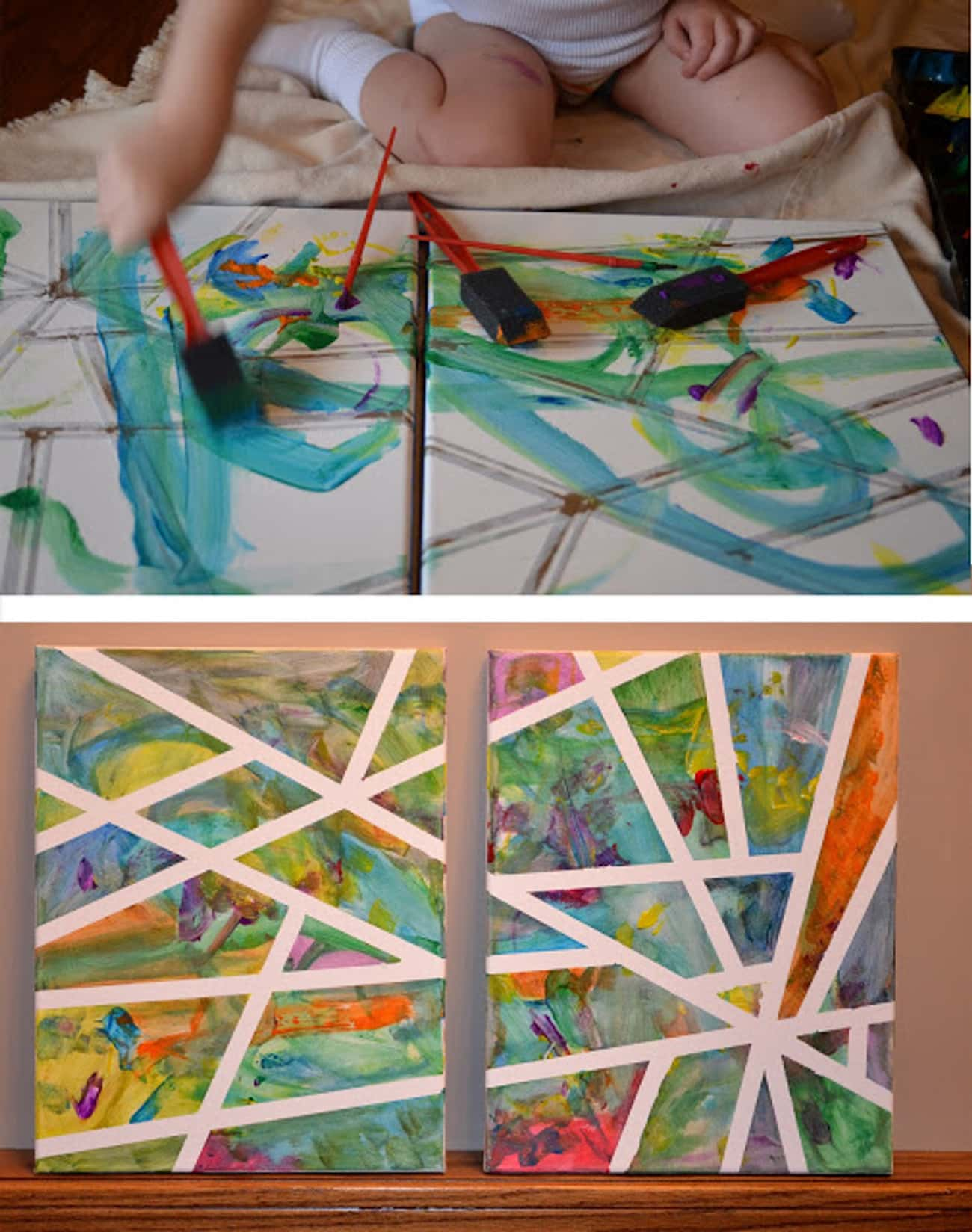 Canvas Tape Painting is listed (or ranked) 2 on the list Fun Summer Crafts That'll Keep Your Kids Busy