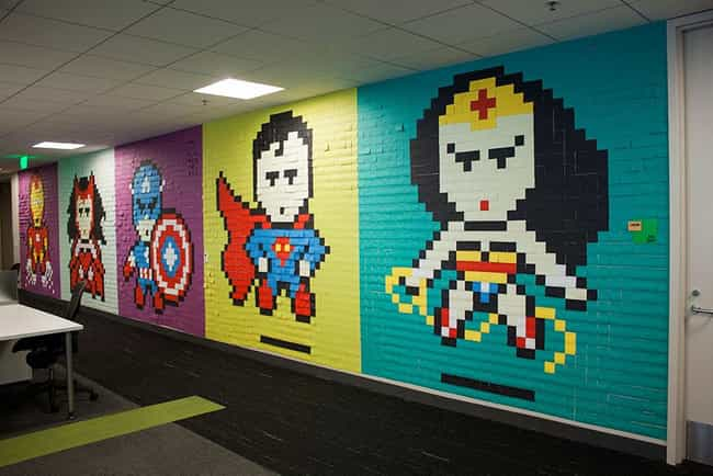 Superheroes is listed (or ranked) 1 on the list 18 Awesome Post-it Note Art Creations
