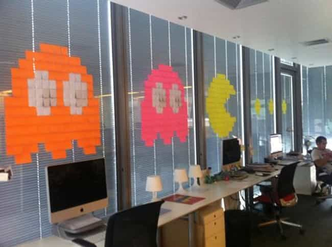 Pac Man is listed (or ranked) 2 on the list 18 Awesome Post-it Note Art Creations