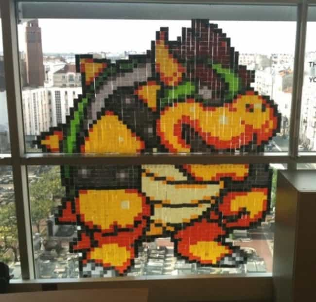 Bowser is listed (or ranked) 4 on the list 18 Awesome Post-it Note Art Creations