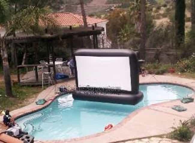 110 superior screen swimming pool backyard movie screen
