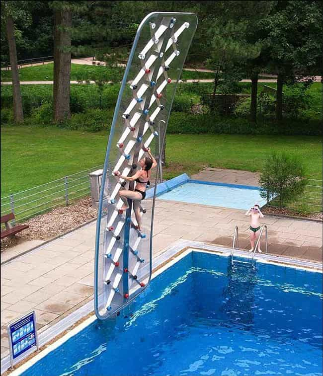 Poolside Rock Climbing Wall is listed (or ranked) 2 on the list 20 Fun Pool Toys You Need This Summer