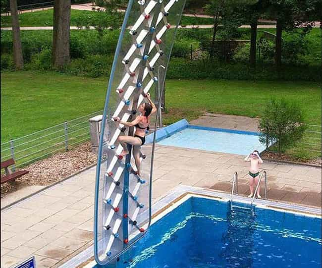 Poolside Rock Climbing Wall is listed (or ranked) 1 on the list 31 Fun Pool Toys You Need This Summer