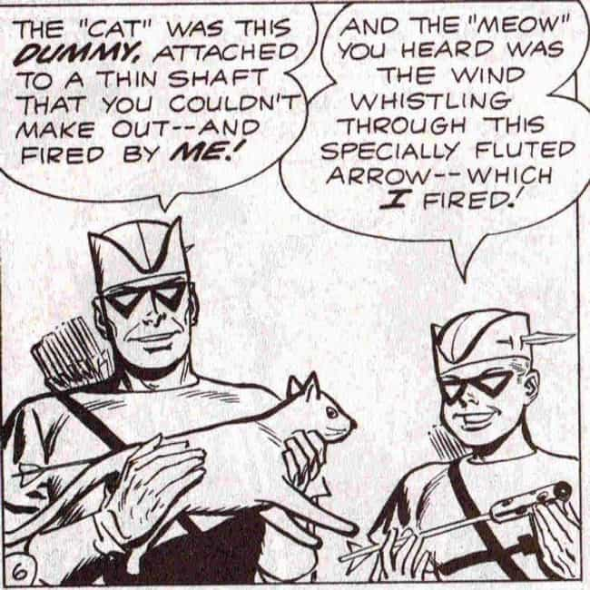 Fake Cat Arrow is listed (or ranked) 2 on the list The Lamest Weapons in Comic Books