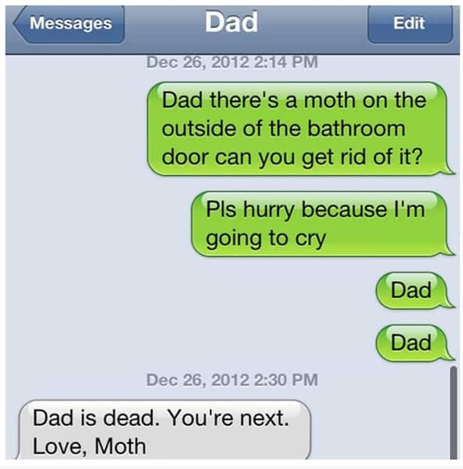 Dad Down! is listed (or ranked) 1 on the list 20 Wonderful Texts That Only Your Dad Would Send