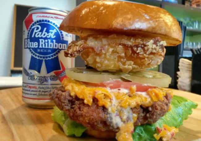 Exploding PBR Chicken Sa... is listed (or ranked) 4 on the list Hipster Foods That We're Not Sure How To Eat
