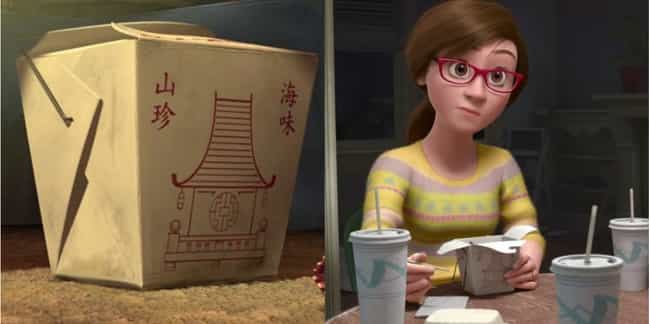 That Chinese Food Is Eve... is listed (or ranked) 2 on the list 27 Easter Eggs Hidden in Pixar's Inside Out
