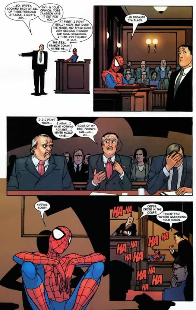 The Race Card is listed (or ranked) 1 on the list The Funniest Spider-Man Quips in Comics