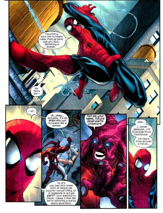 Never Give the Alien Your Real... is listed (or ranked) 3 on the list The Funniest Spider-Man Quips in Comics