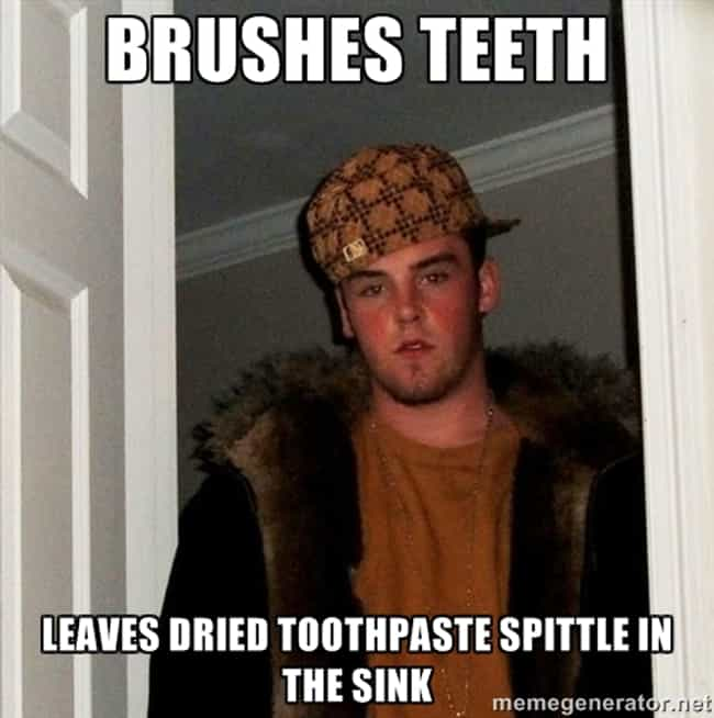 His Toothpaste Deposits is listed (or ranked) 6 on the list Pet Peeves Everyone Who's Shared a Bathroom Will Understand