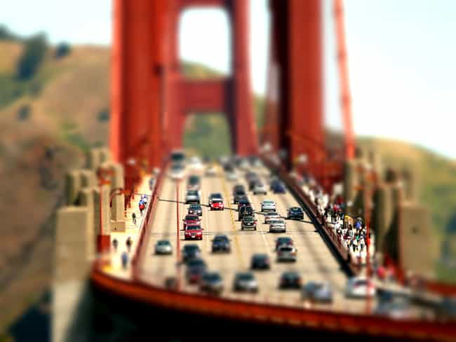 Lilliputian Look at the Golden... is listed (or ranked) 1 on the list Unreal Tilt-Shift Photos of Landmarks