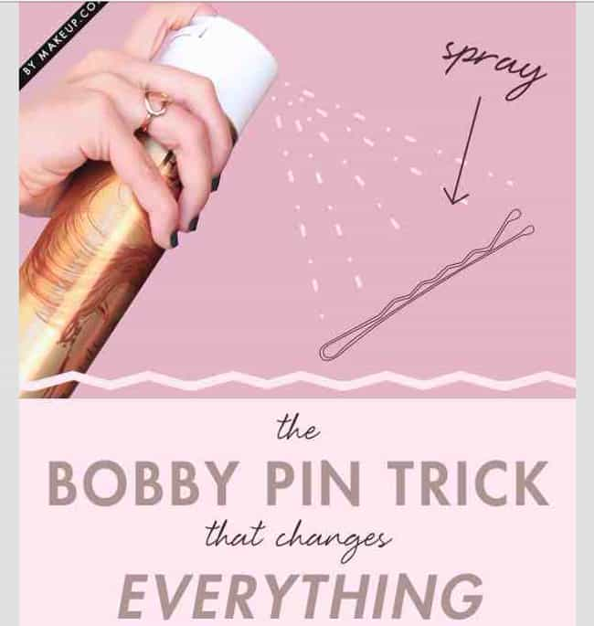 Spray Bobby Pins with Hairspra... is listed (or ranked) 1 on the list Hairstyling Hacks for the Perfect 'Do Every Day