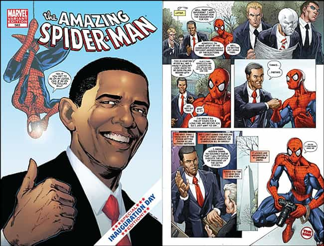 Obama and Spider-Man is listed (or ranked) 3 on the list 16 Surprising Times Politics Totally Affected Comic Books