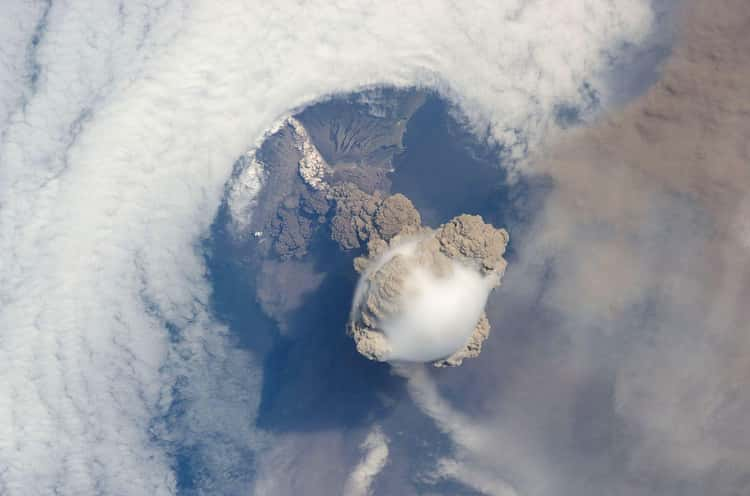 The Eruption Of Sarychev Volcano Near Japan