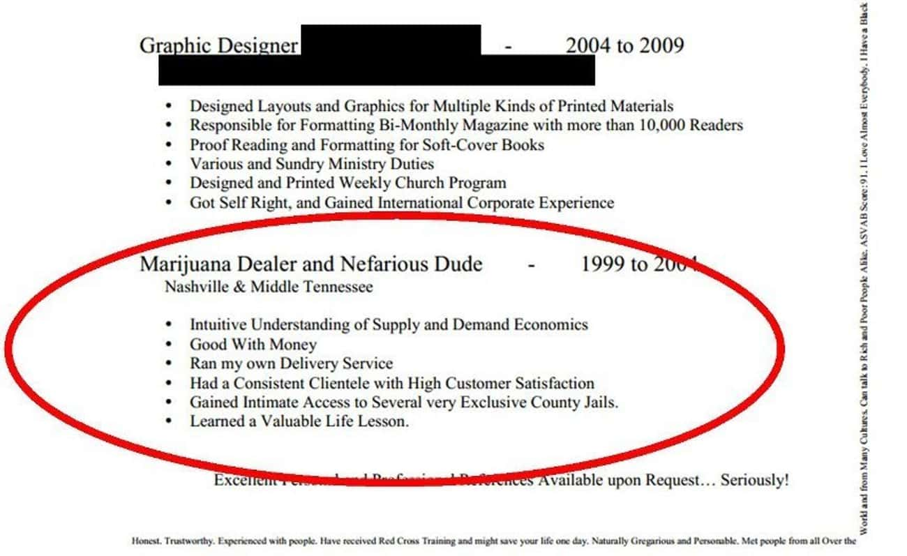 Honesty: Not Always the Best P is listed (or ranked) 1 on the list The Most Hilarious Resume Fails to Ever Happen