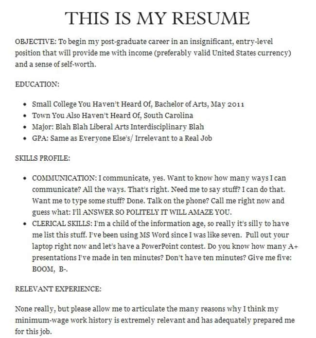 Humor: Only to Be Attempted by is listed (or ranked) 16 on the list The Most Hilarious Resume Fails to Ever Happen