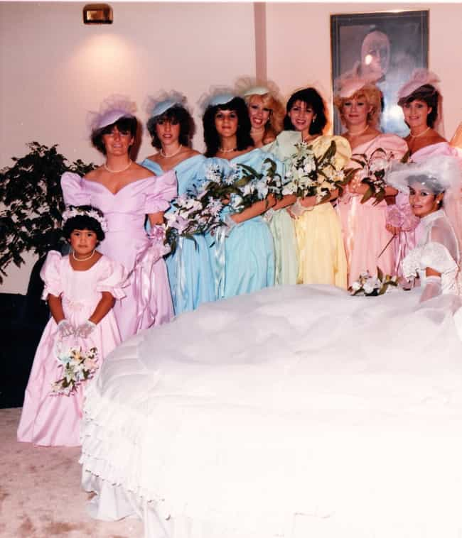 A Plethora of Pastels is listed (or ranked) 4 on the list The Most Radical '80s Wedding Photos Ever