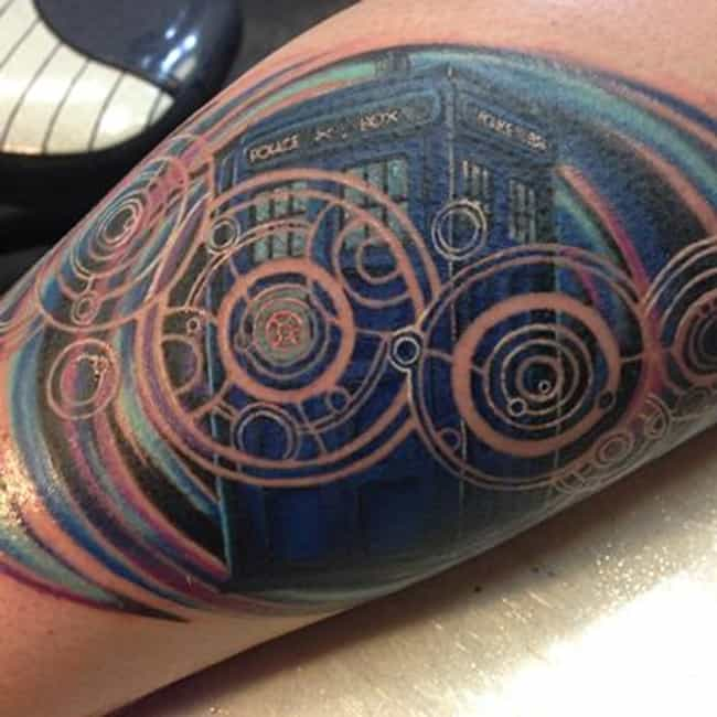 Gallifreyan-Tardis is listed (or ranked) 3 on the list 60+ Wibbly Wobbly Doctor Who Tattoos