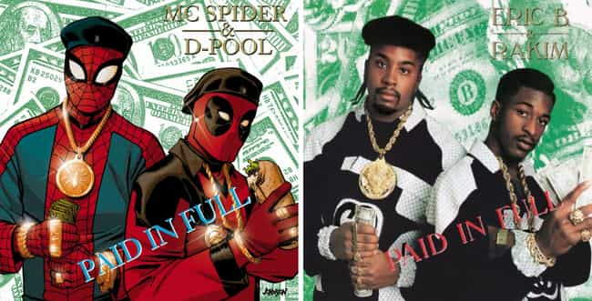 Spider-Man/Deadpool #1 is listed (or ranked) 3 on the list The Coolest Marvel Rap Album Variant Covers