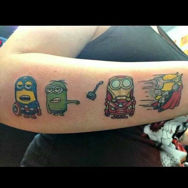 The Aveng-mins is listed (or ranked) 3 on the list 30 People Who Actually Got a Minion Tattoo