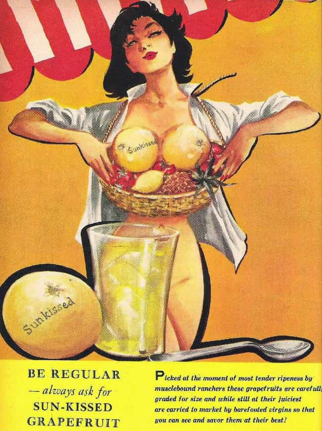 Kiss My Grapefruits Censor Boa... is listed (or ranked) 3 on the list 24 Hilarious and Accidentally Sexy Vintage Food Ads
