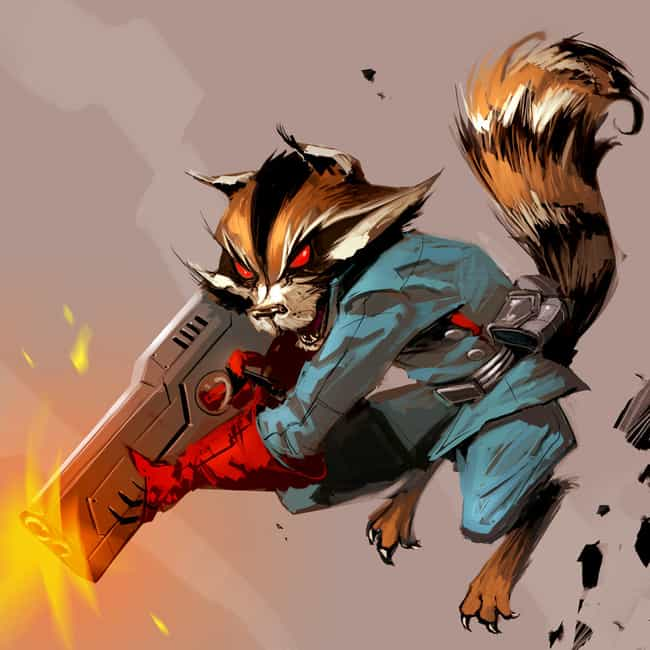 Rocket Raccoon is listed (or ranked) 3 on the list Superheroes who Love to Mouth Off