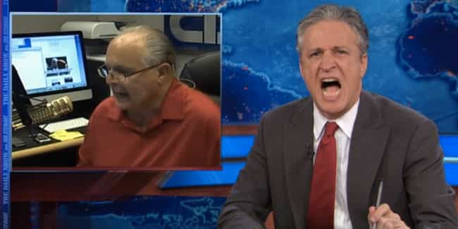 F*@K Rush Limbaugh is listed (or ranked) 3 on the list Jon Stewart's Most Entertaining Feuds Ever