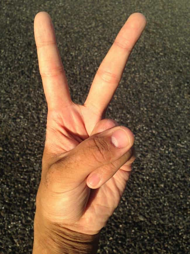 The V Sign is listed (or ranked) 4 on the list Offensive Hand Gestures from Around the World