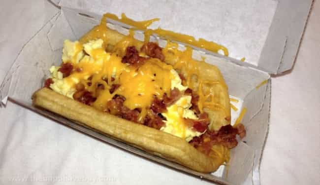 Taco Bell Waffle Taco is listed (or ranked) 4 on the list The Craziest Breakfast Food Abominations