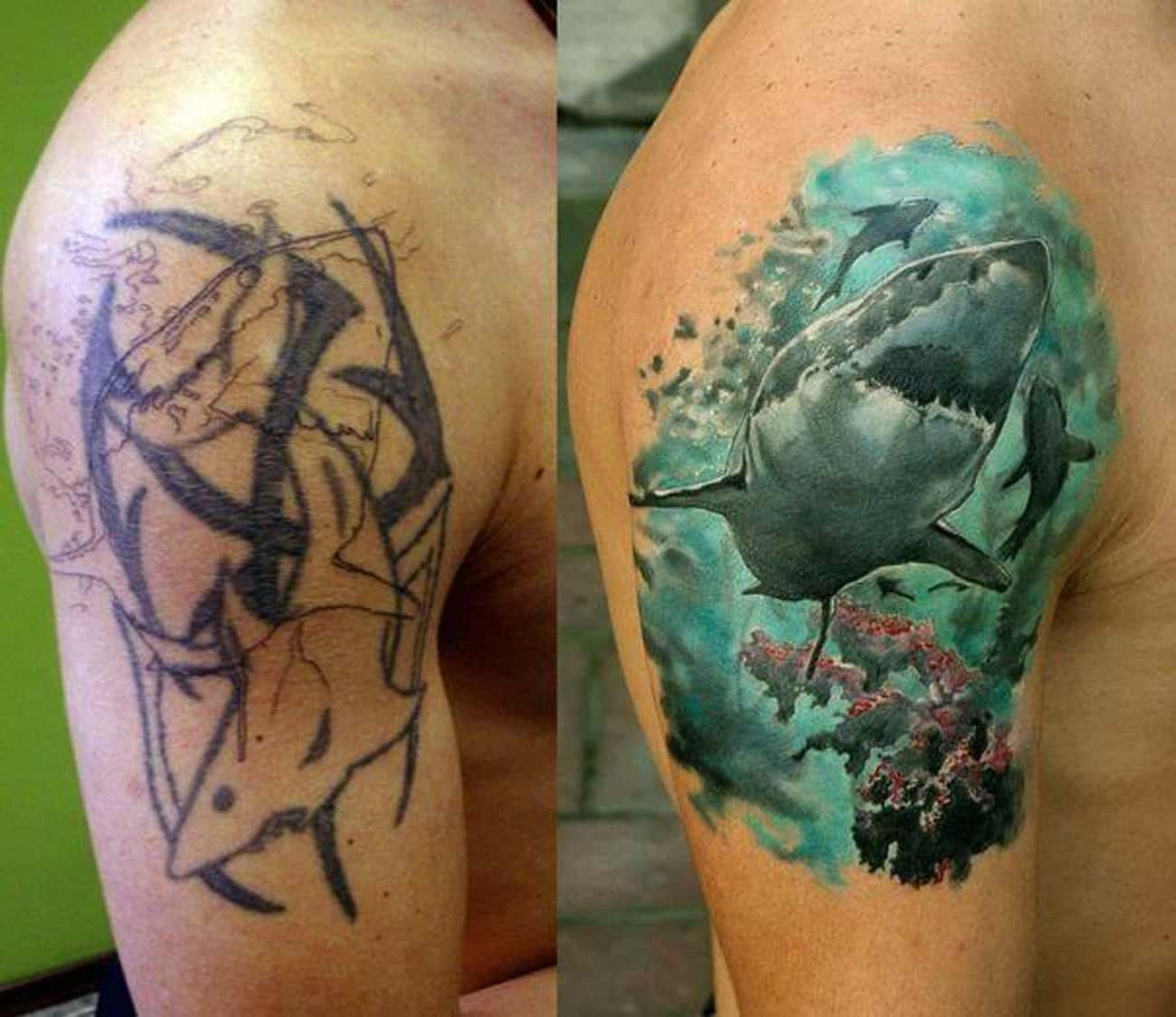 Tribal Shark Gets an Epic Make is listed (or ranked) 1 on the list 44 Genius Ideas for Cover Up Tattoos