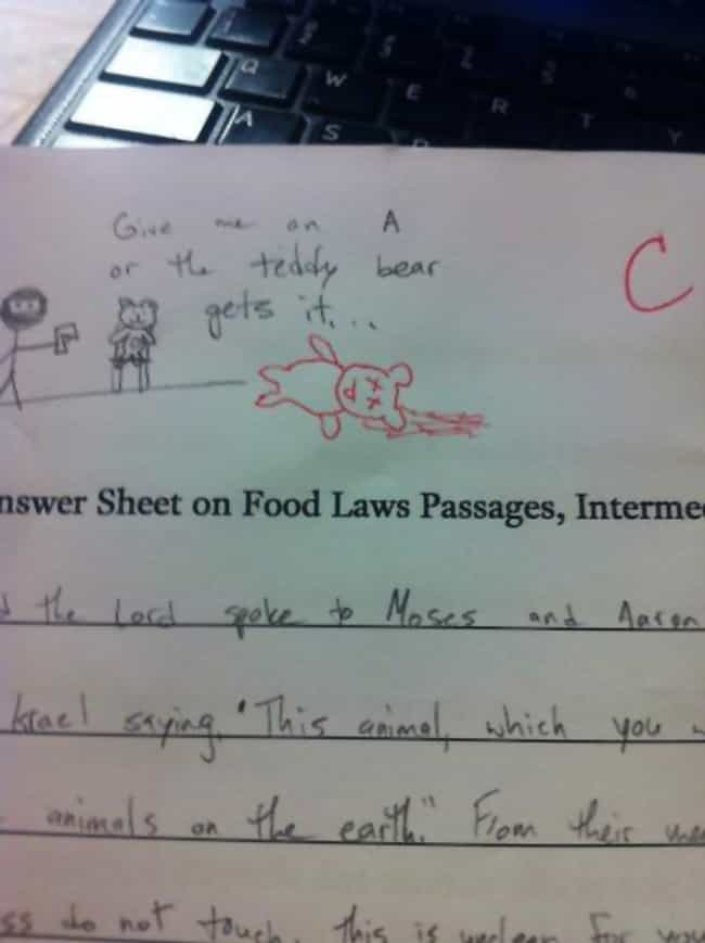 The Way to This Teacher's ... is listed (or ranked) 3 on the list 21 Hilarious Teacher Test Comments
