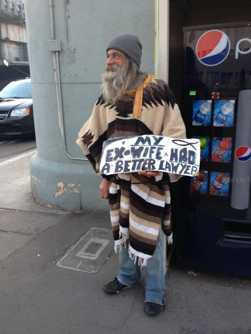 The Legal System Strikes Again is listed (or ranked) 1 on the list 34 Homeless People with the Funniest Cardboard Signs