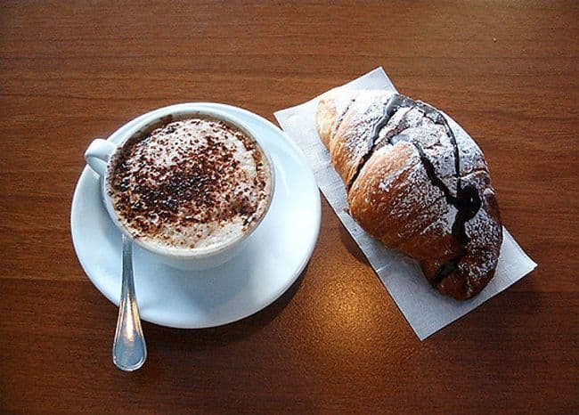 An Italian Breakfast Is Simply a Cappuccino and a Croissant on Random Delicious Pictures of Breakfast from Around World